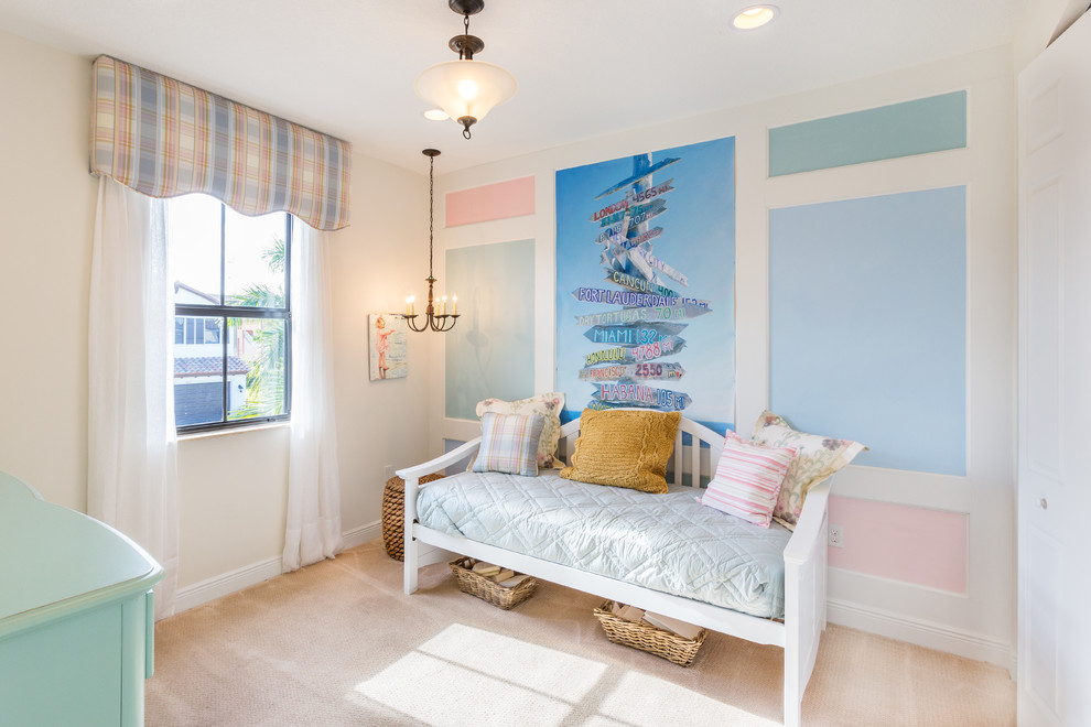 daybeds for girls Kids Beach with chandelier daybed girls room multicolored walls pastel