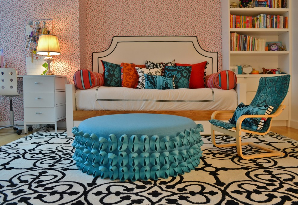 Daybeds for Girls Kids Contemporary with Black and White Color Custom Bookcase Custom1