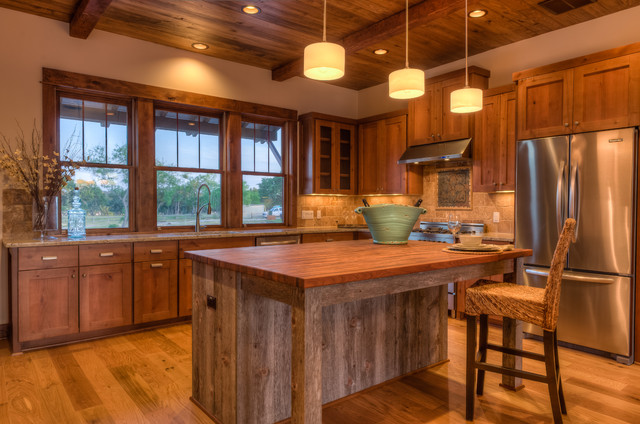 Dcs Appliances Kitchen Rustic with Beams Counter Stool Frame and Panel Woodwork Glass Front