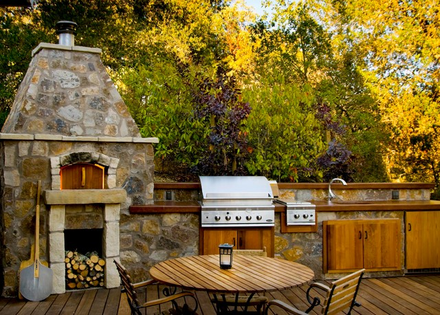 Dcs Grill Deck Transitional with Bluestone Concrete Counter Top Dcs Appliances Firewood Storage Grill