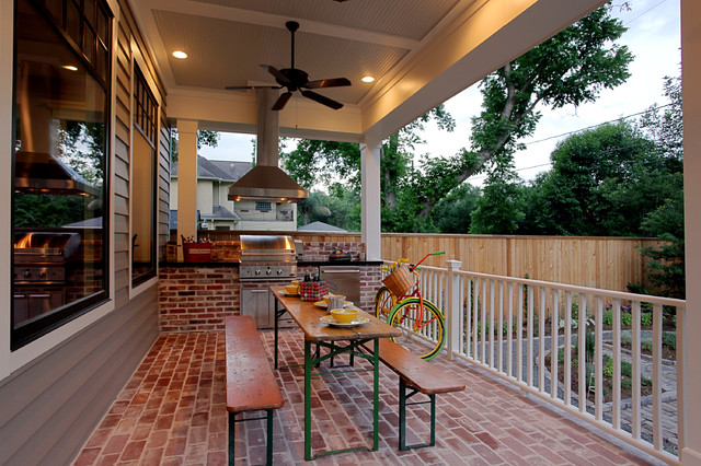 Dcs Grill Porch Traditional with Back Porch Barbecue Brick Paving Ceiling Fan Ceiling Lighting