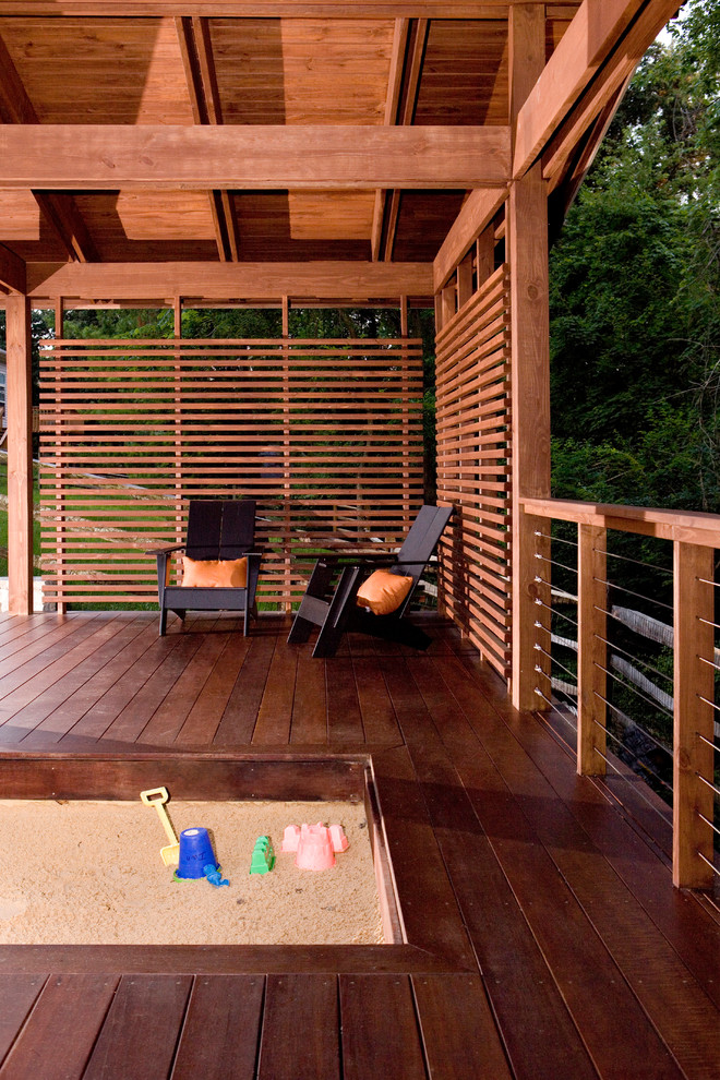 Deck Refinishing Porch Modern with Adirondack Chairs Beams Cable Railing Cable Rails