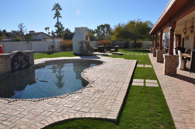deck resurfacing Landscape Mediterranean with brick paving covered patio grass lawn outdoor fireplace path