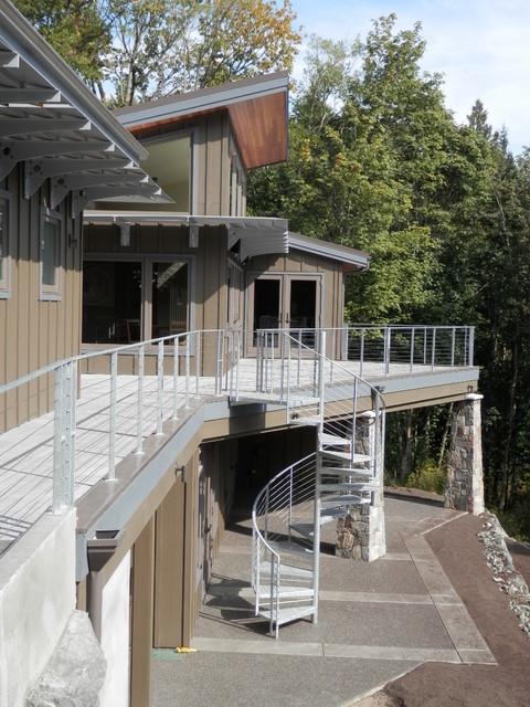 Deck Stair Railing Deck Contemporary with Beige Exterior Beige Siding Built Green Cable Railing Cistern