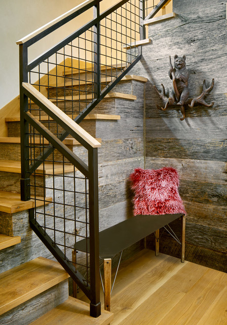 deck stair railing Staircase Rustic with entry bench furry pillow metal railing Wall Sculpture wood