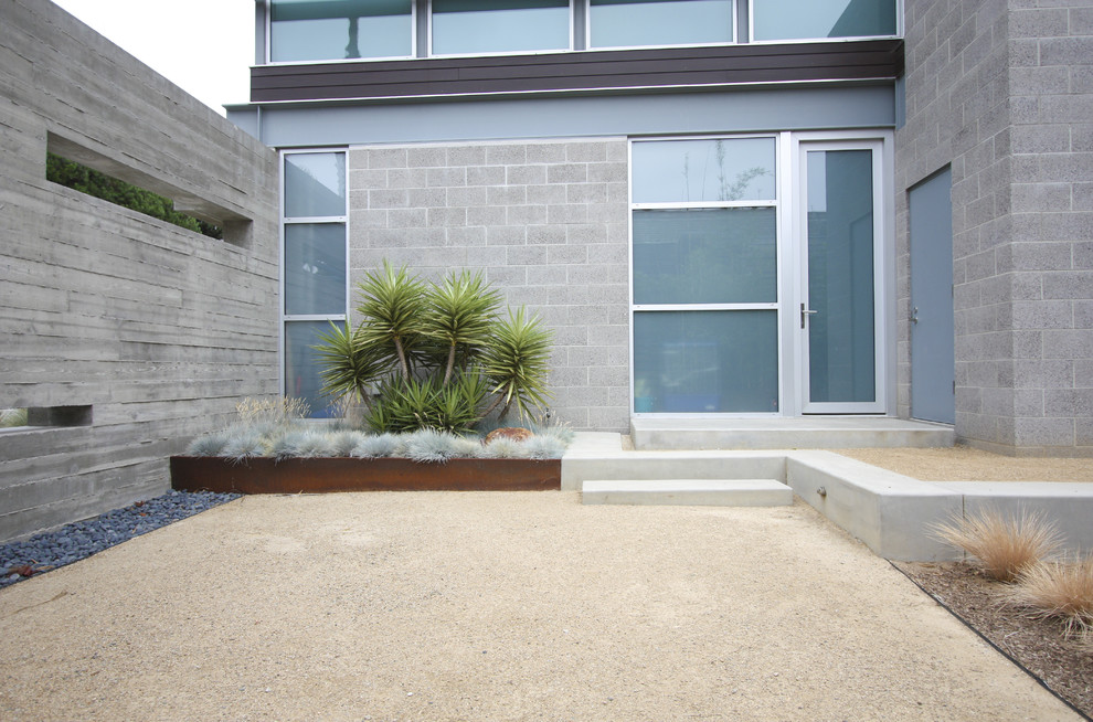 Decomposed Granite Cost Landscape Modern with Cinder Block Concrete Frosted Glass Grasses Gravel