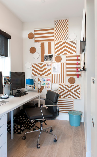 Decorative Bulletin Boards Home Office Contemporary with Black Task Chair Black Window Shades Blue Trash Can