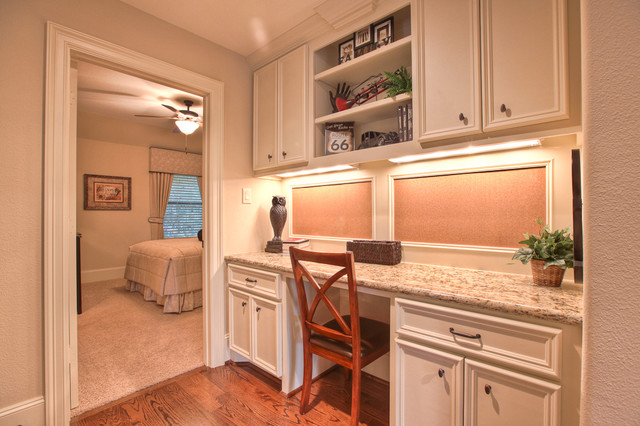 Decorative Bulletin Boards Home Office Traditional with Bedroom Beige Built in Desk Cabinets Ceiling Fan Desk