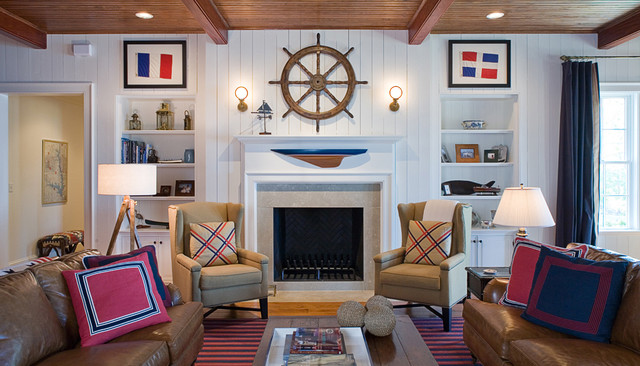 Decorative House Flags Family Room Traditional with Blue Boats Brown Leather Built in Bookshelves Curtain Panels Fireplace