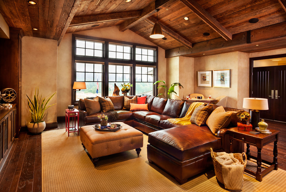 deep sectional sofa Family Room Rustic with brown leather sofa brown sectional sofa dark