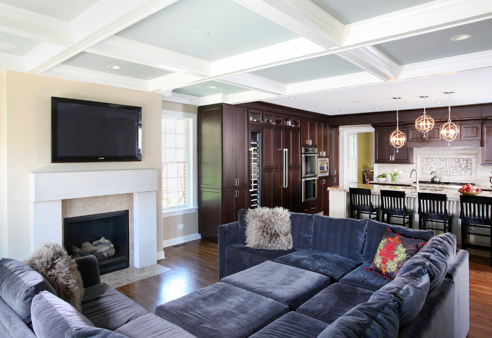Deep Sectional Sofa Family Room Traditional with Cage Pendants Ceiling Ceiling Lighting Coffered Ceiling1