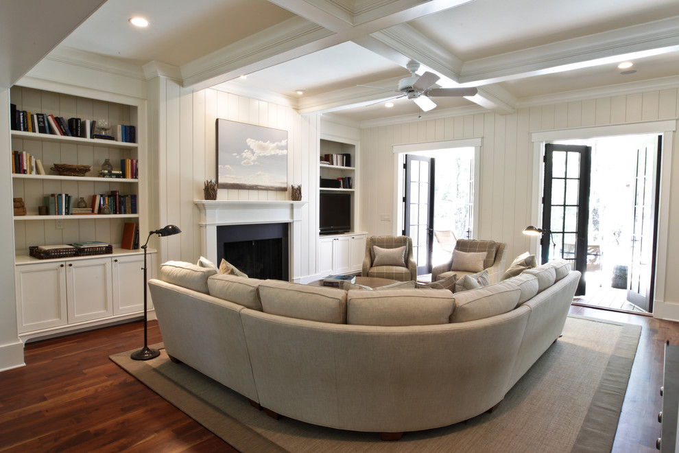 Deep Sectional Sofa Living Room Beach with Artwork Beadboard Box Beams Built in Bookcases Built In1