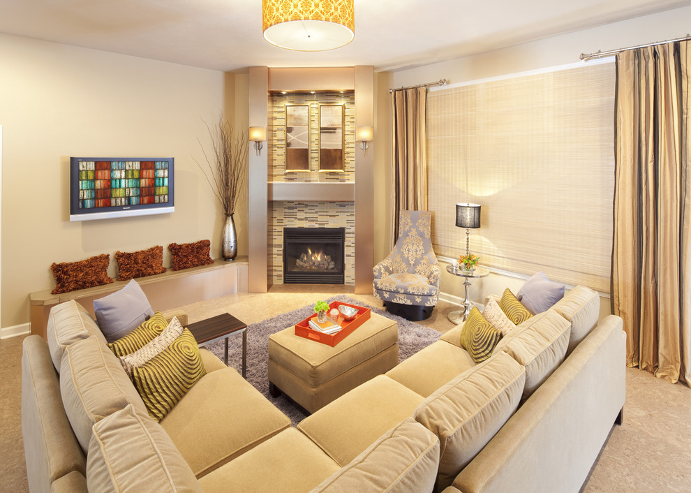 Deep Sectional Sofa Living Room Contemporary with Accent Chair Built in Seating Corner Fireplace1