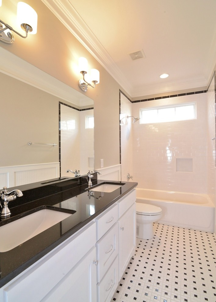 delta cassidy Bathroom Craftsman with Benjamin Moore revere pewter black and white