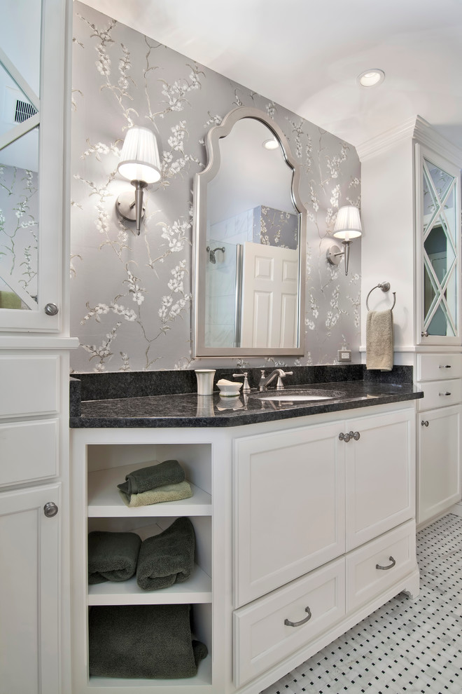 Delta Cassidy Bathroom Traditional with Black Countertop Open Shelves Recessed Lighting Wall