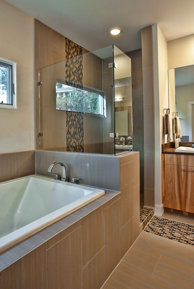 Delta Cassidy Faucet Bathroom Contemporary with Ceiling Lighting Glass Shower Enclosure Neutral Colors