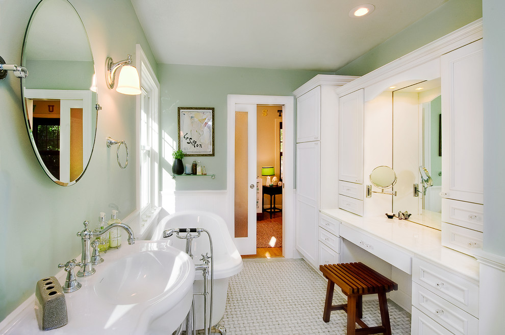 Delta Cassidy Faucet Bathroom Victorian with Bathroom Storage Built in Cabinets Freestanding Tub Frosted