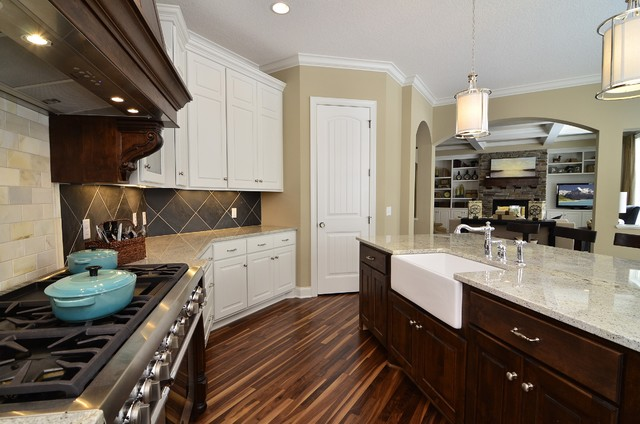 Delta Faucets Repair Kitchen Victorian with Apron Front Sink Arched Door Openings Beige Blue Accents