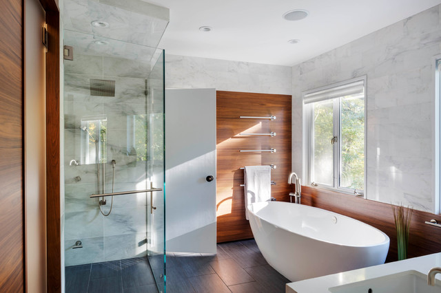 delta towel bars Bathroom Contemporary with marble shower minimalist master bedroom modern shower relaxing living