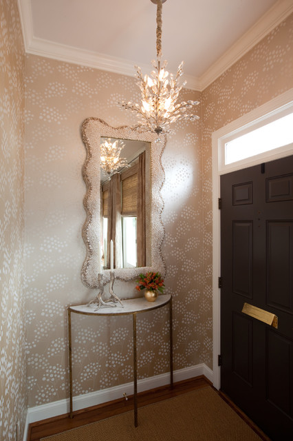 Demilune Console Table Entry Transitional with Demilune Console Table Entry Foyer Metallic Wallpaper Mini Crystal