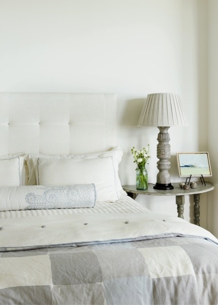 Demilune Table Bedroom Beach with White Upholstered Headboard