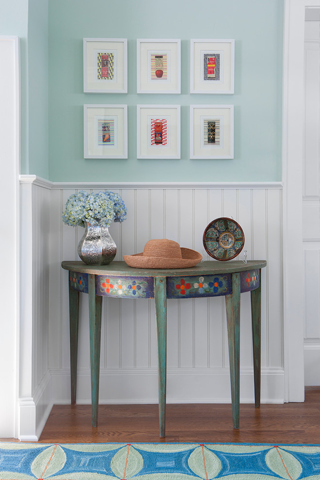Demilune Table Hall Beach with Area Rug Beadboard Cool Colors Demilune Console