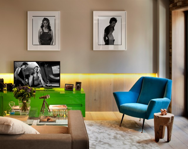 Dimmable Led Bulbs Living Room Contemporary with Area Rug Blue Armchair Bright Colors Brown Sofa Clear
