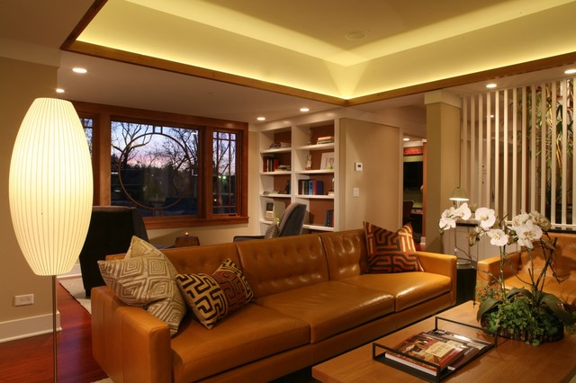 Dimmable Led Bulbs Living Room Traditional with Baseboards Ceiling Lighting Cognac Leather Sofa Cove Lighting Floor