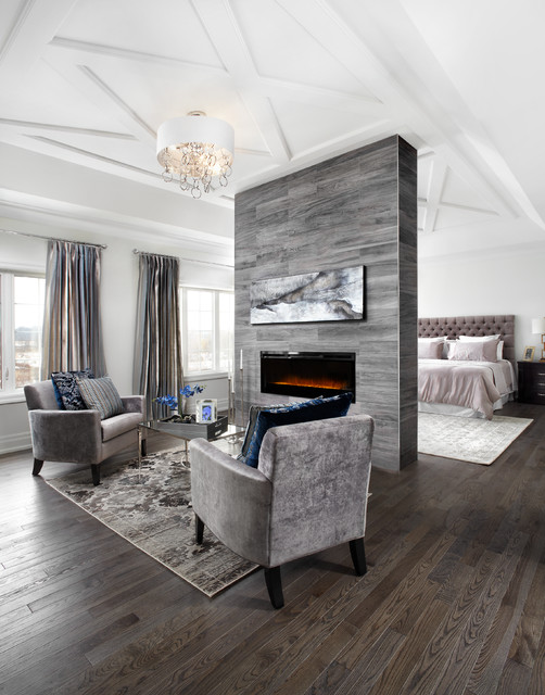 Dimplex Electric Fireplace Bedroom Transitional with Ceiling Trim Coffered Ceiling Crown Moulding Fireplace Flush Mount