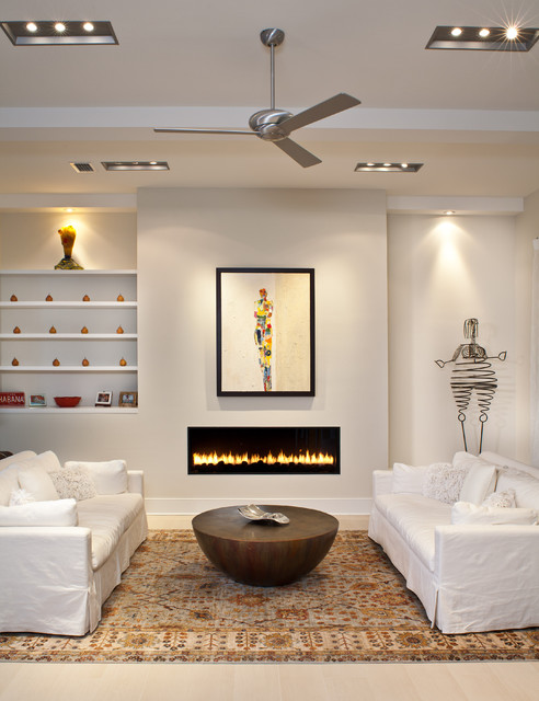Dimplex Electric Fireplace Living Room Contemporary with Area Rug Art Niche Ceiling Beams Ceiling Fan Ceiling