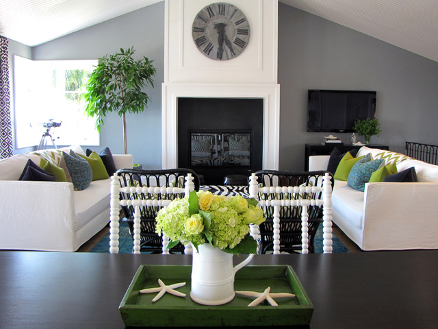 Dimplex Fireplace Living Room Beach with Blue Cane Chairs Dining Table Fireplace Gray Walls Green