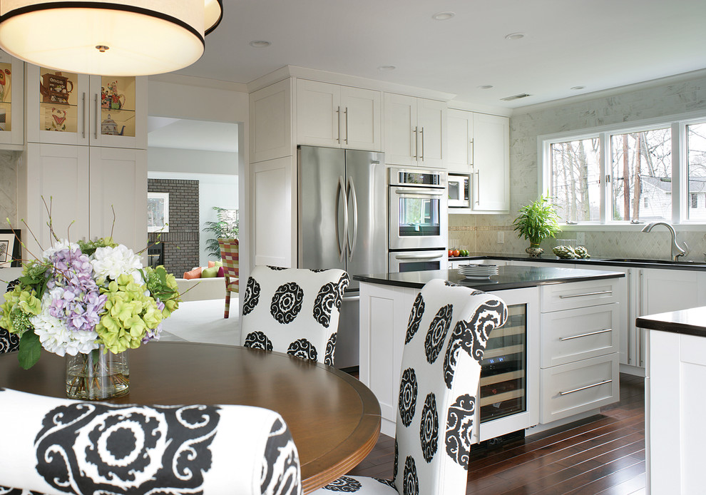 Dinette Chairs Kitchen Transitional With Black And White Upholstered Dining Chai Cabinet