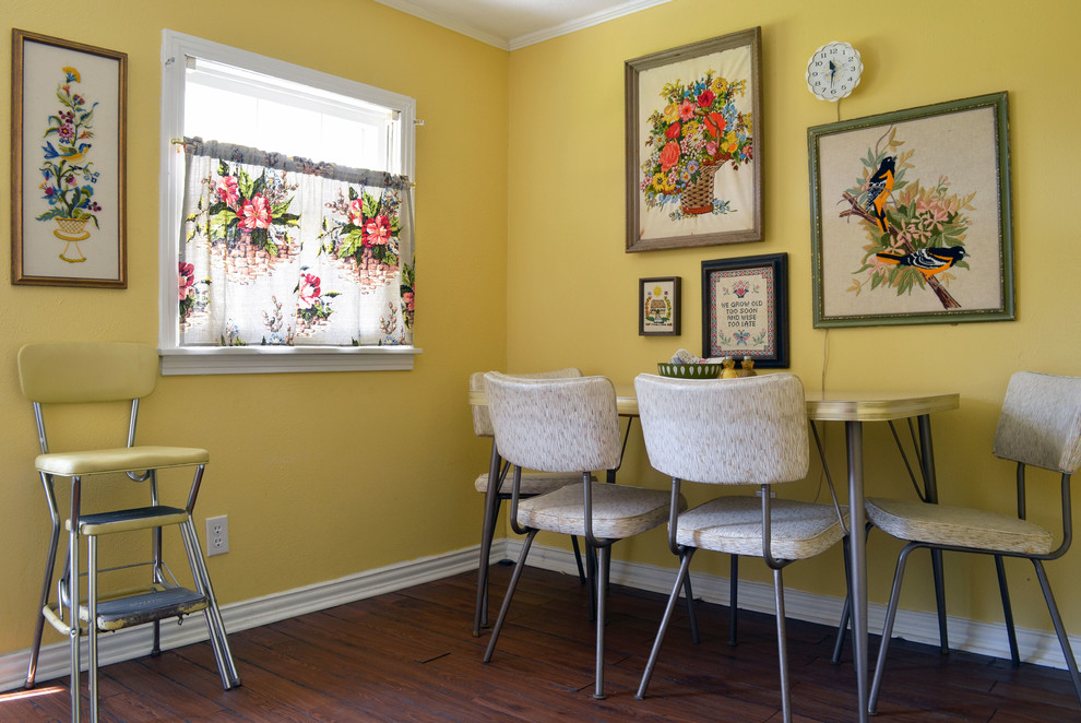 dinette sets dining room eclectic with 1950s art cafe curtain kitsch midcentury needlepoint