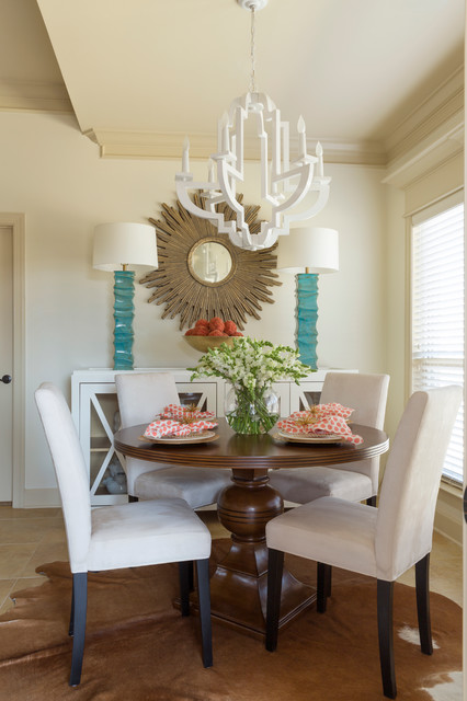 Dinette Tables Dining Room Contemporary with Animal Skin Rug Blue Lamps Contemperary Chandelier Golden Sun