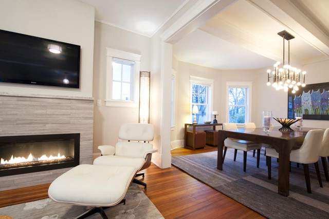 Direct Vent Fireplace Family Room Transitional with Area Rug Bare Bulb Chandelier Charles Eames Chenille Fireplace