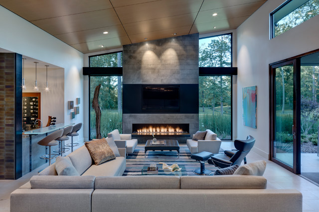 Direct Vent Fireplace Living Room Contemporary with Bar Seating Black Oak Clerestory Window Fireplace Floating Bar
