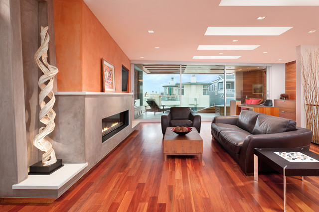 Direct Vent Fireplace Living Room Contemporary with Brown Leather Armchair Brown Leather Sofa Dark Brown Side
