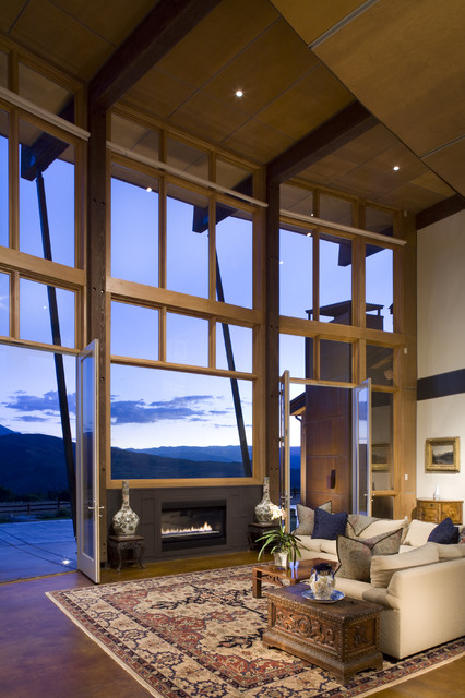 Direct Vent Gas Fireplace Insert Family Room Contemporary with Area Rug Aspen Carved Chest Chimney Clerestory Concrete Concrete
