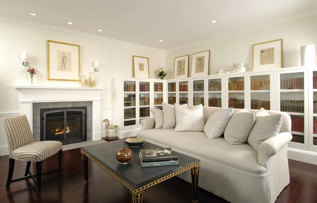Direct Vent Gas Fireplace Insert Living Room Contemporary with Built in Bookcases Coffee Table Dark Stained Wood Floor