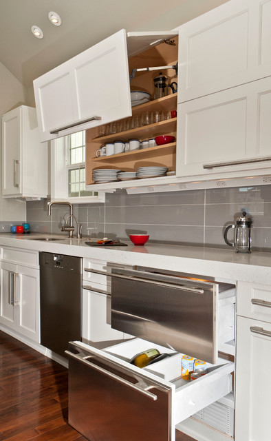 Discount Tile Outlet Kitchen Transitional with Contemporary Custom Cabinets Deep Drawers Glass Backsplash Gray Kitchen