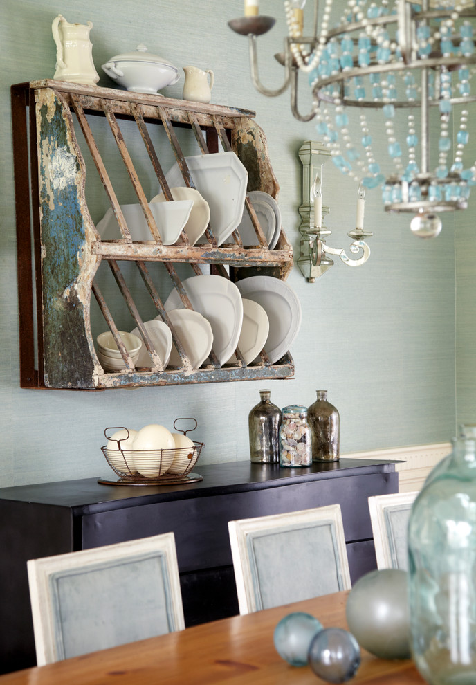 Dish Drainers Dining Room Shabby Chic with Blue Dining Chair Blue Glass Chandelier Blue
