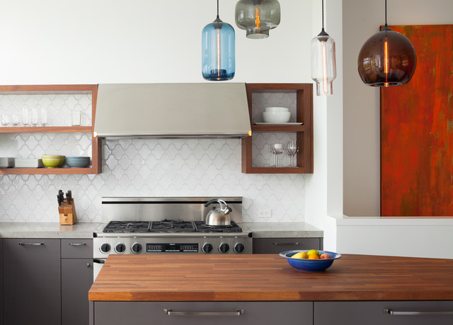 Dishwashing Detergent Kitchen Contemporary with Butcher Block Countertops Debris Fireclay Tile Flat Panel Cabinets Gray