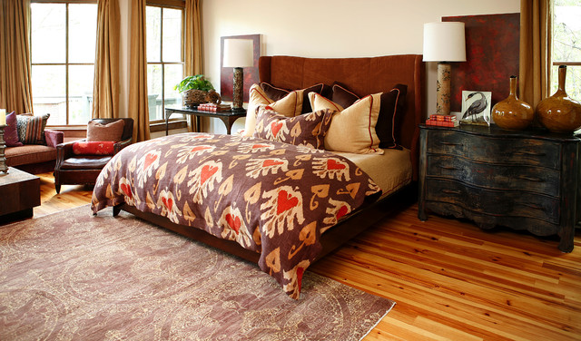 distressed dresser Bedroom Eclectic with area rug bed pillows bedside table chest of drawers
