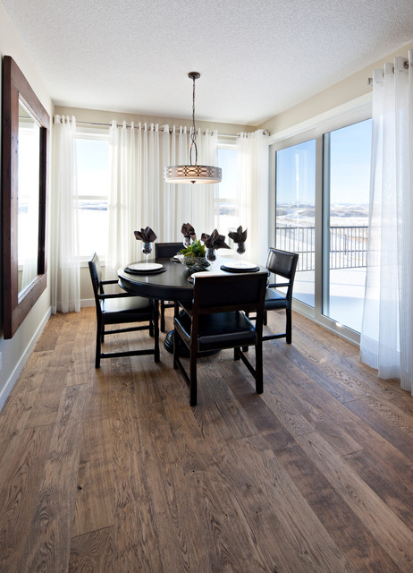 Distressed Hardwood Flooring Dining Room Traditional with Curtains Drapes Drum Pendant Glass Doors Leather Dining Chairs1