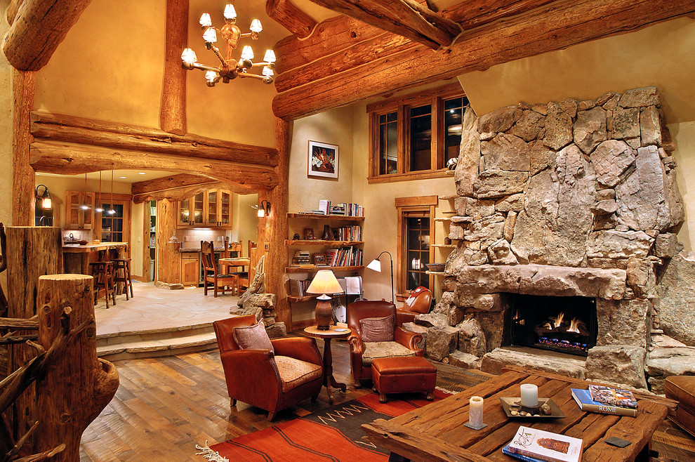 distressed hardwood flooring Living Room Traditional with beige wall character logs hybrid log house