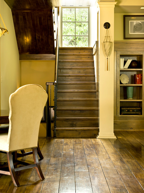 Distressed Hardwood Flooring Staircase Traditional with Basement Bookcase Dark Floors Plank Flooring Staircase Stairs Wood