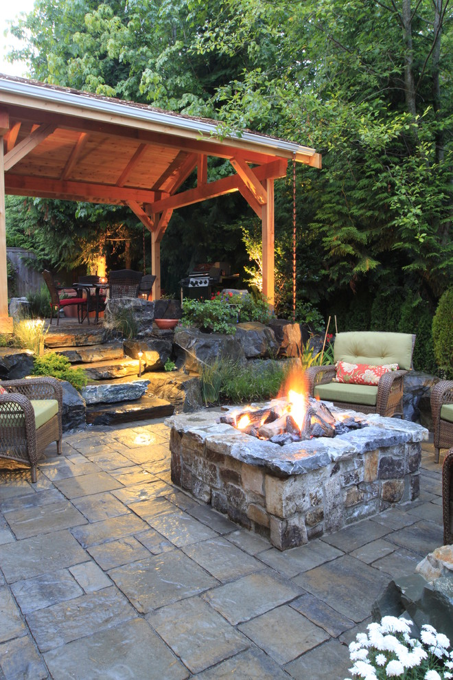 diy propane fire pit Patio Traditional with covered patio fire pit forest garden grill