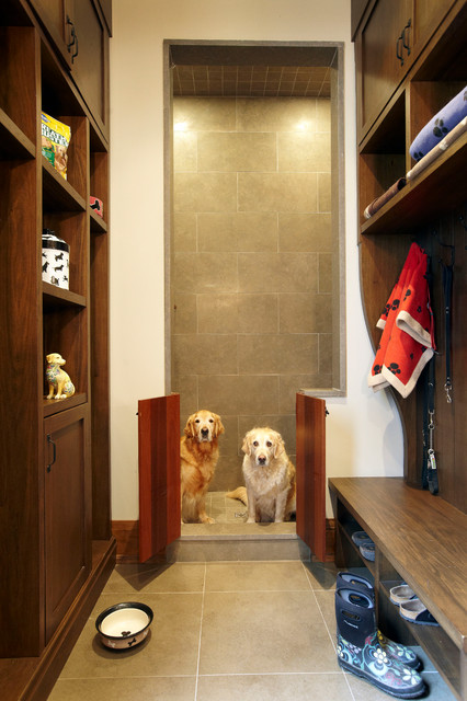 doggie gates Entry Rustic with built-in shelves built-in storage Custom dog shower leash storage