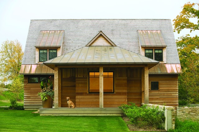 Done Rite Roofing Exterior Rustic with Copper Roof Dormer Windows Gabled Roof Grass Lawn Metal
