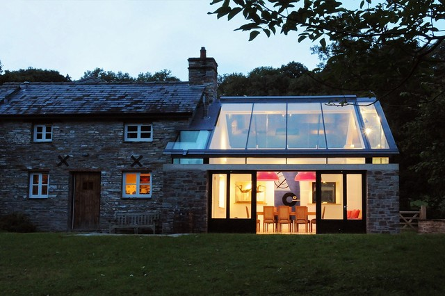 Done Rite Roofing Exterior Transitional with Chimney Clerestory Glazing Country Home Country House Extension Extension